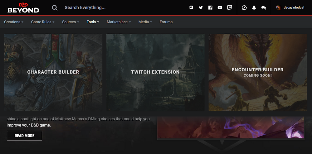Another screenshot showcasing that they have a character builder, a twitch extension, and an encounter builder that is coming soon.