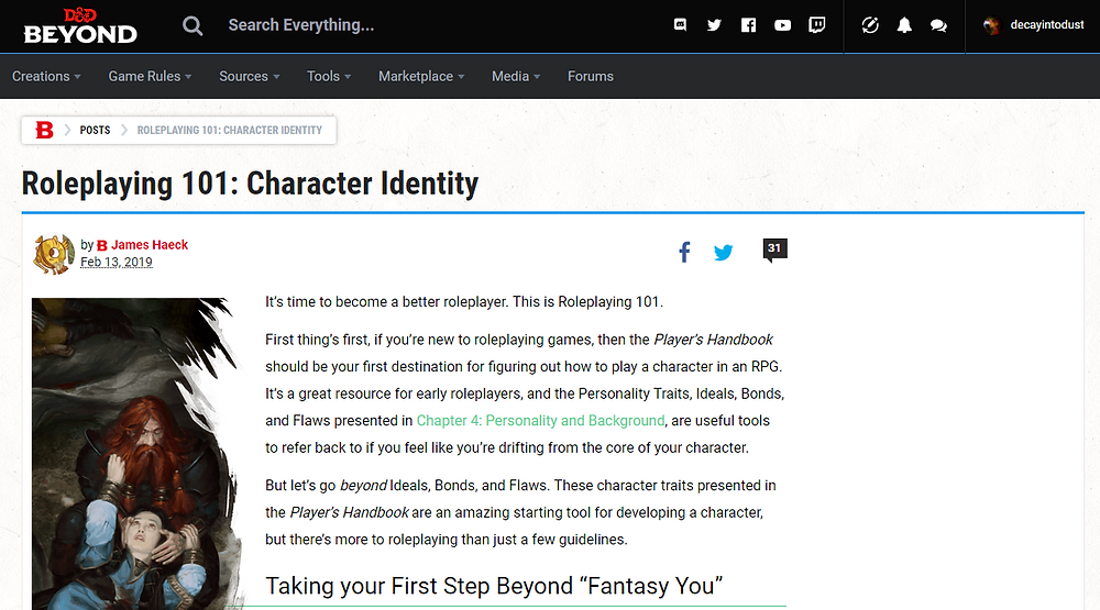 Screenshot of an article on D&D Beyond about roleplaying your character better.
