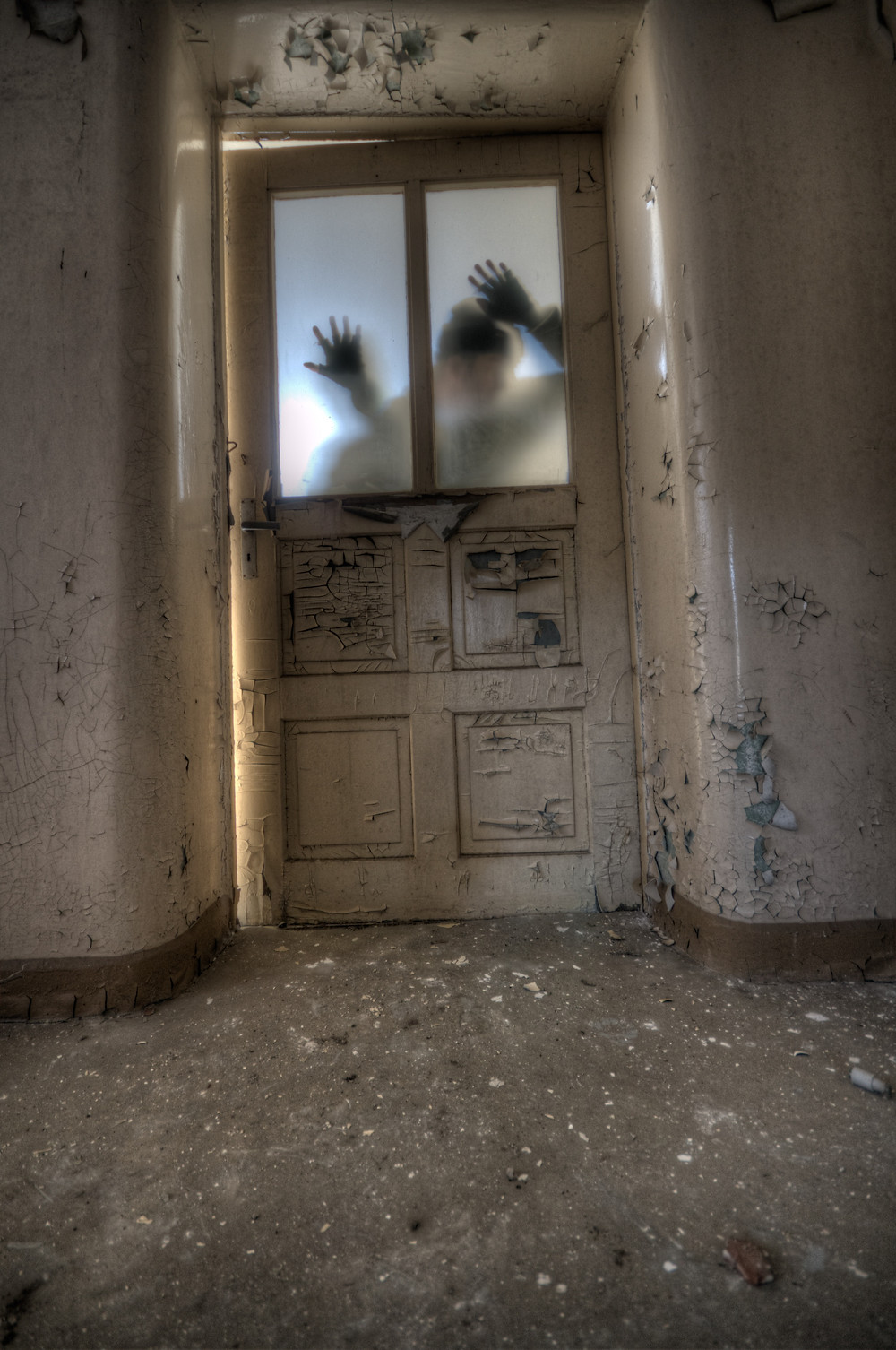 Paint peels from the walls of an old asylum. Through the frosted glass of a dilapidated door you see the silhouette of hands reaching out trying to escape.