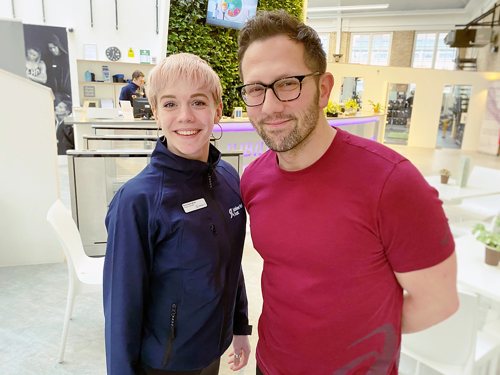 Personal trainer Julien Bertherat with Nicol Bedingfield.