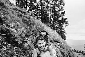 Wouter, mijn man, met Jimmy in de bergen