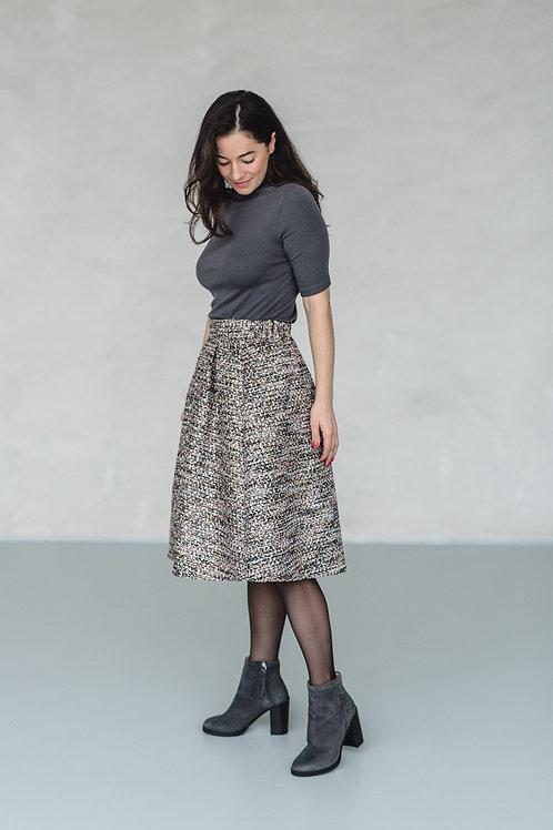 Tweed Baloon Skirt Black/Brown - COCO JANE