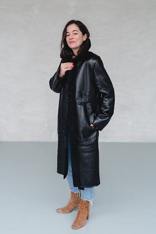 Long Fitted Coat with Faux Fur Black - VASELINE