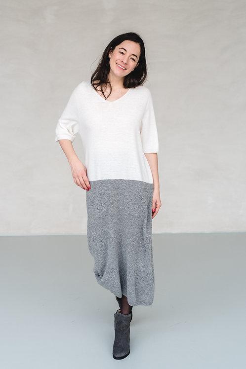 Color Block Knit Dress Ivory/Grey - EU
