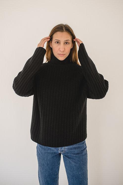 Pullover Turtleneck Ripp Black - AVECNOUS