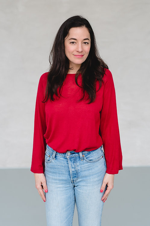 UMA WIDE SILK CASHMERE TOP, SCARLET RED - MASKA
