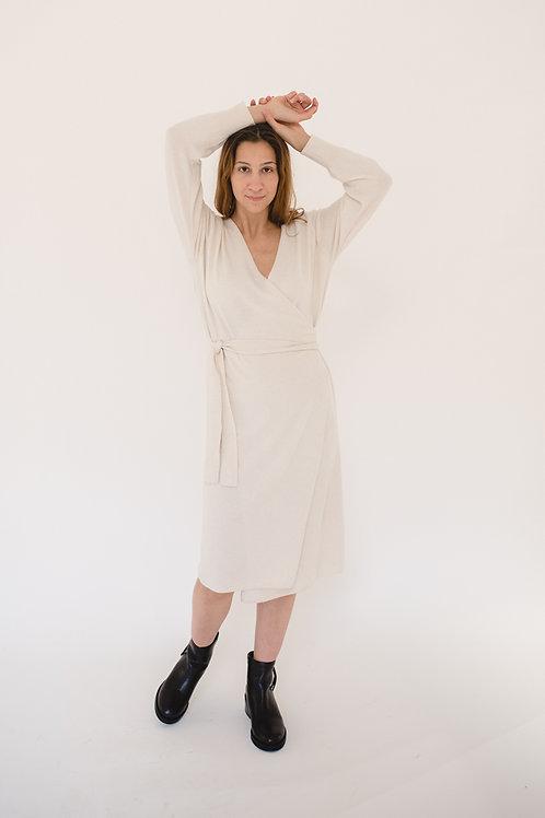 Wrap Knit Dress Ivory - EU