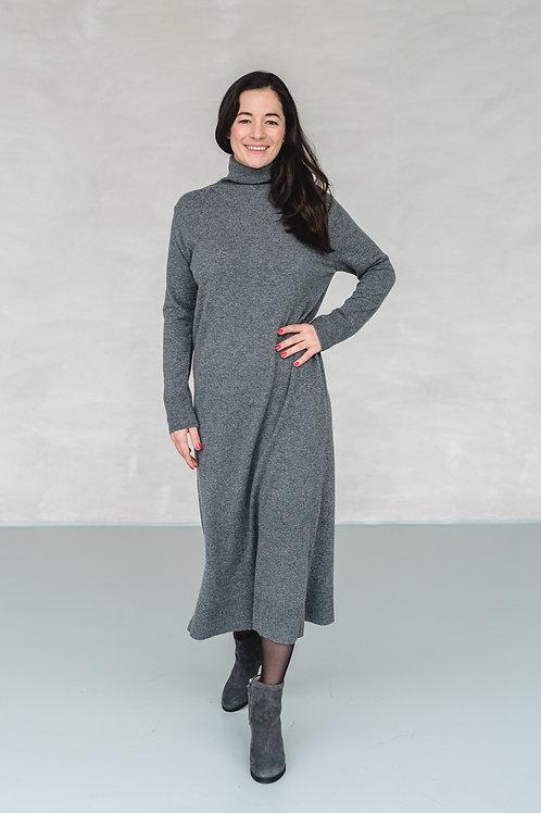 Long Knit Dress with Turtleneck Dark Grey - EU