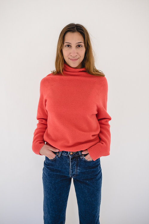 Pullover Turtleneck Bright Red - BYSIA