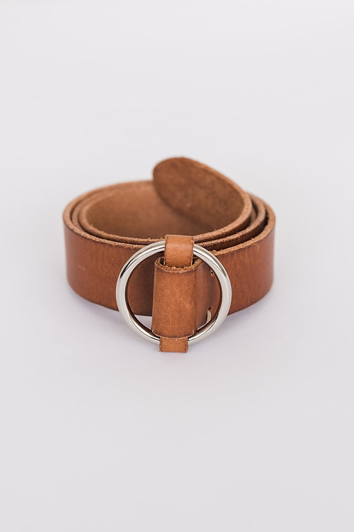 LEATHER BELT - COGNAC, ROUND BUCKLE