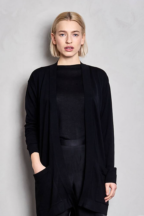 ANDO - BUTTONLESS CARDIGAN, BLACK - MASKA