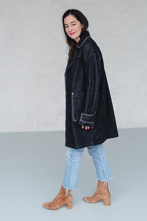 Denim Coat Black - EARL GREY PEOPLE