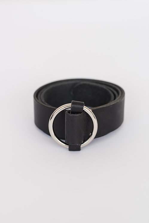LEATHER BELT - BLACK/SILVER, ROUND BUCKLE