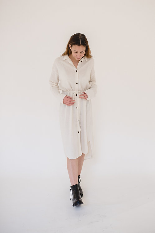 Buttoned Up Knit Dress Ivory - AILLA