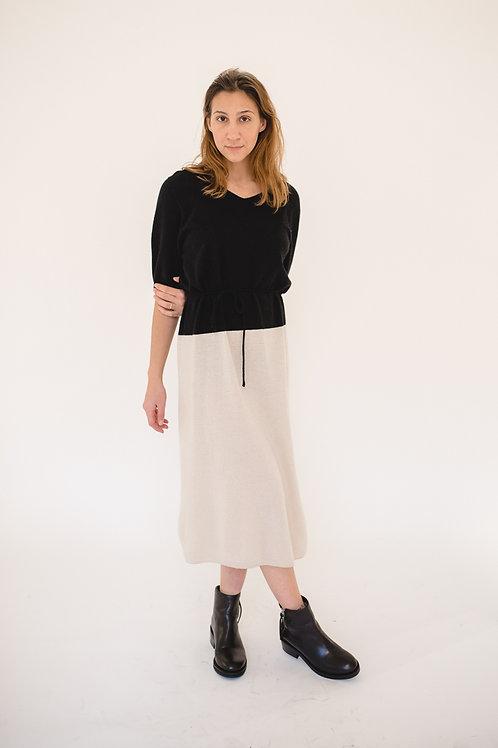Color Block Knit Dress Black/Ivory - EU