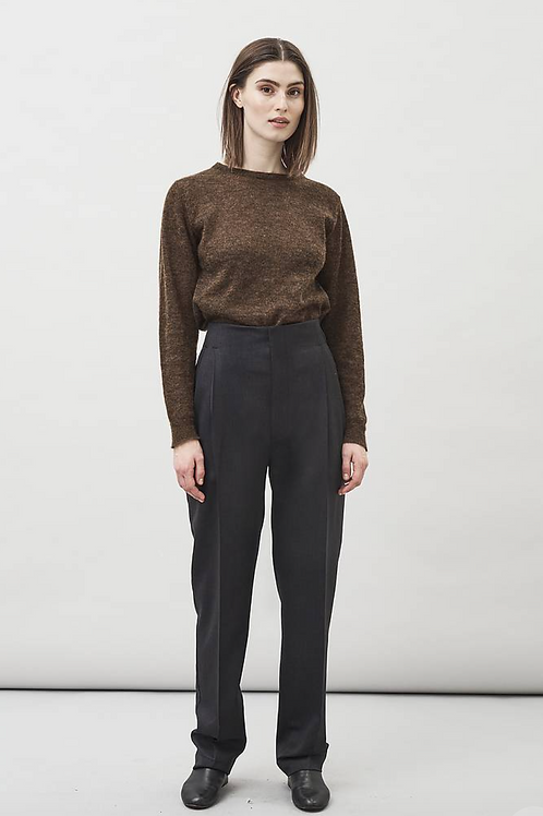 RUE HIGH WAIST TROUSERS CHARCOAL - MASKA
