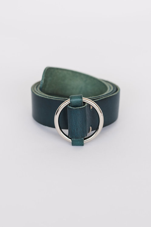 LEATHER BELT - TEAL, ROUND BUCKLE