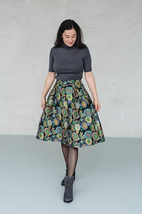 Jaquard Baloon Skirt Flowers Green/Orange/Blue - COCO JANE