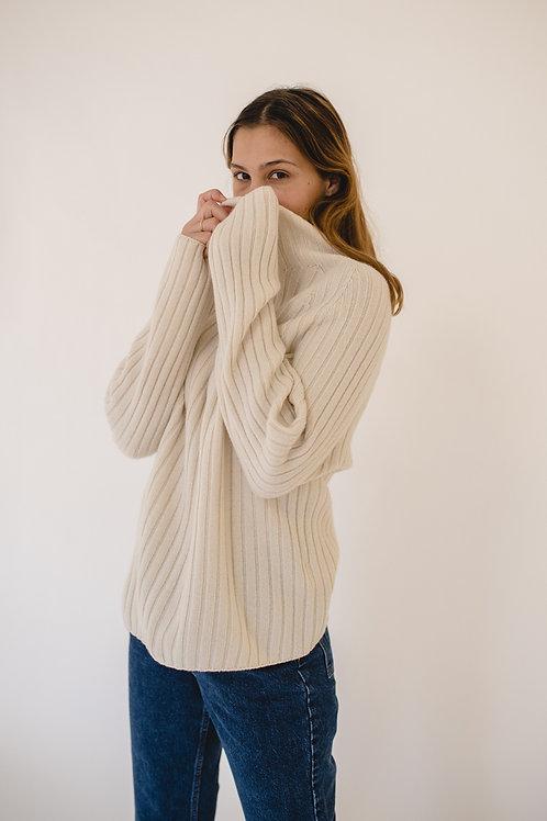 Pullover Turtleneck Ripp Ivory - AVECNOUS