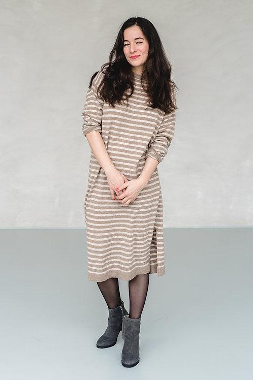 Knit Dress Stripes Beige/Oatmeal - LEEGARDEN