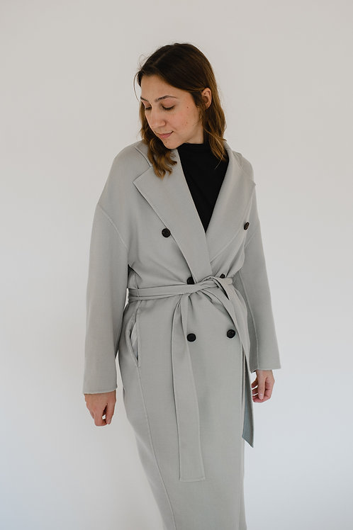 Doublebreasted Wool Coat  Light Grey - BROWNS