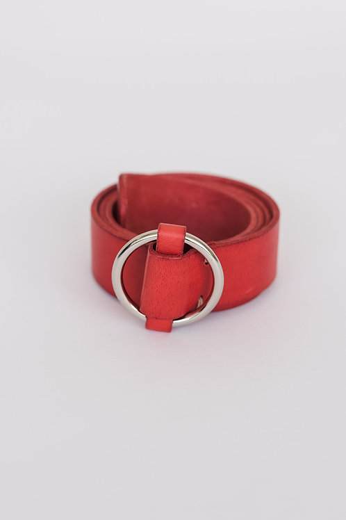 LEATHER BELT - RED, ROUND BUCKLE