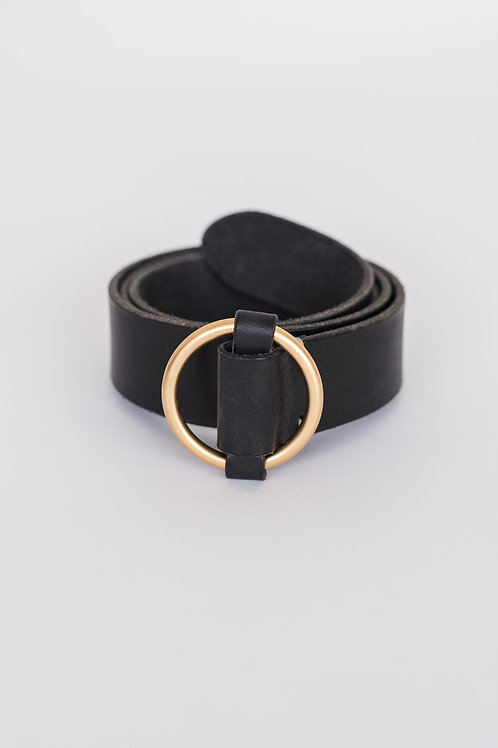 LEATHER BELT - BLACK/GOLD, ROUND BUCKLE