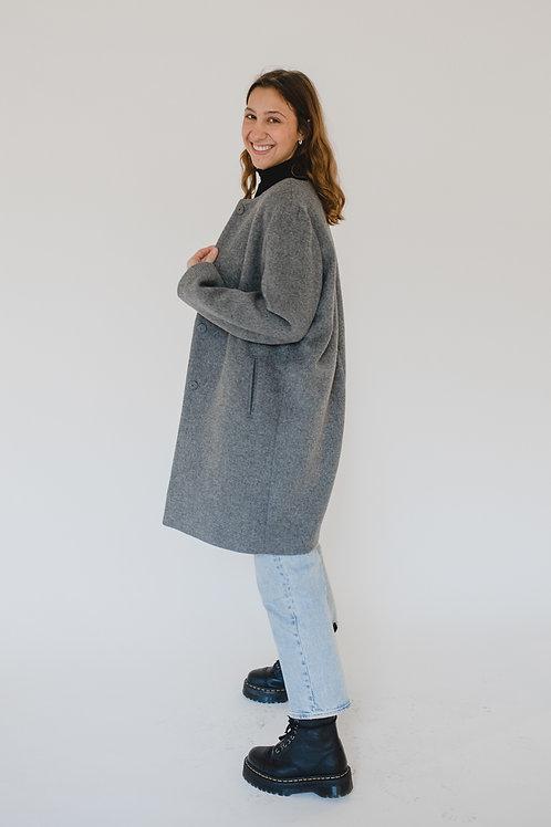 Classic Collarless Coat Grey - Cotton Market