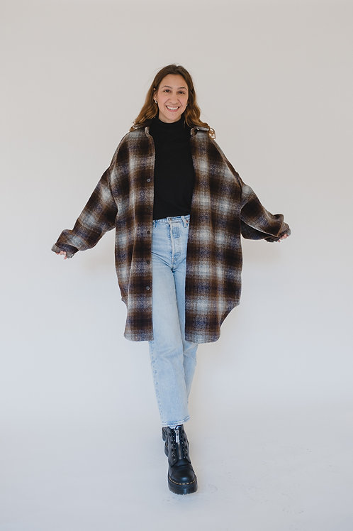 Oversized Shirt Coat Brown/Lilac - 6Pence