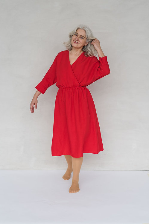 FRIEDA DRESS - CHERRY RED