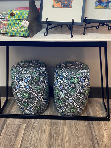 Floal Garden Stools & Marble Table