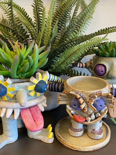 Fun & Whimsical Pottery                                    Planters, Bells & Cups