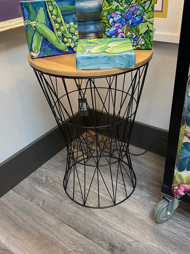 Wire and Wood Side Table