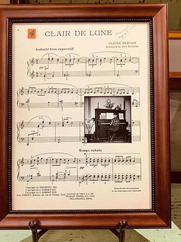 Custom framed sheet music & photo