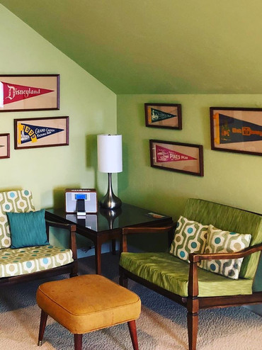 Vintage pennants framed and hung in customers home.