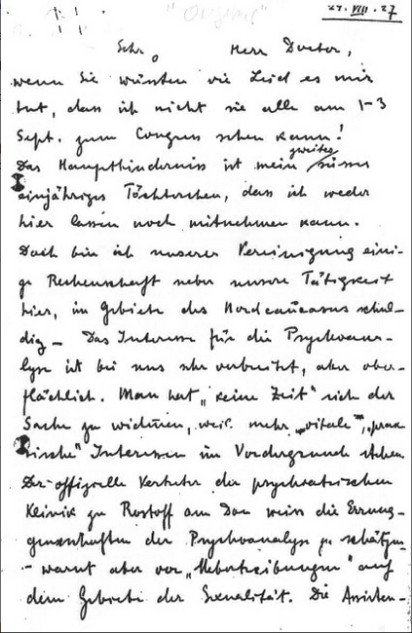 Spielrein's letter to Max Eitingon, 24 August 1927