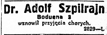 Press note about Dr. Adolf Szpilrajn's medical practice in Warsaw