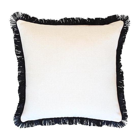 Cushion Cover-Coastal Fringe Black-Solid Natural