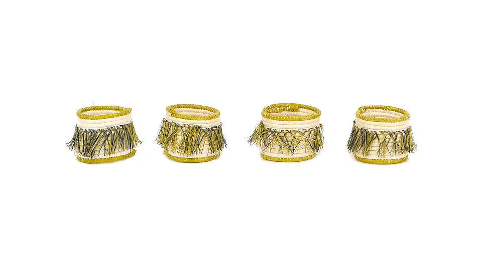 Sweet Pea Fringed Napkin Rings, Set of 4