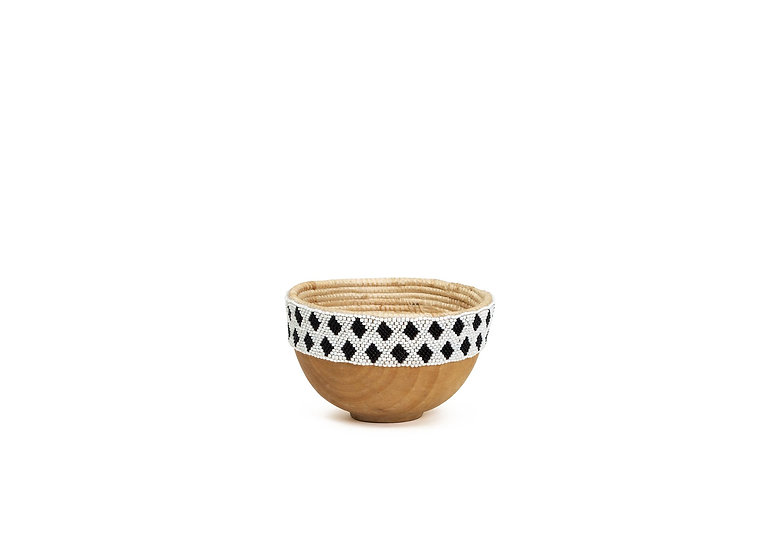 "8"" Small Nakala Beaded Wooden Bowl"