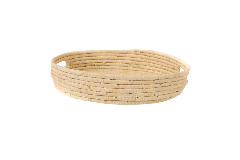 Natural Raffia Bread Basket With Handles