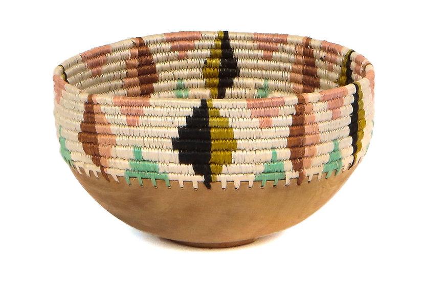 """8"""" Medium Desert Flower Wooden Bowl"""