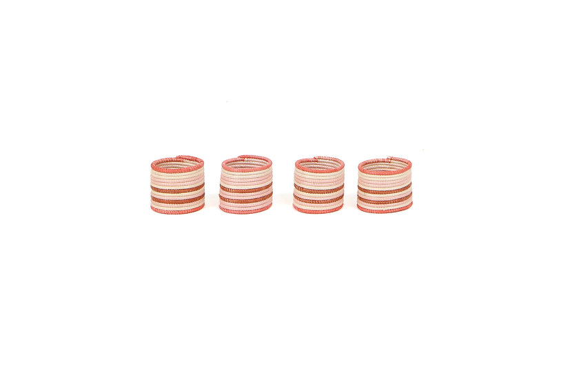 Coral Striped Napkin Rings, Set of 4
