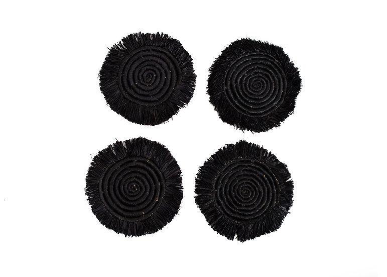 Black Fringed Raffia Drink Coasters, Set of 4