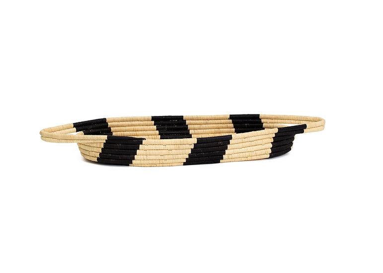 Black Striped Oval Raffia Decorative Tray