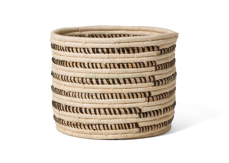 Striped Black + Natural Storage Basket I