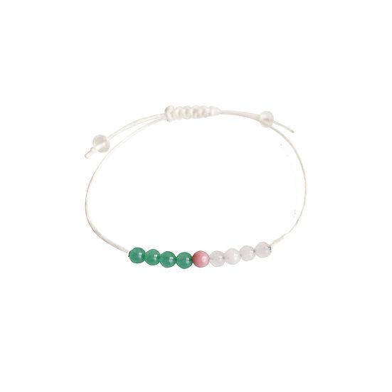 Aventurine, Rhodonite, Rose Quartz + Hemp. Anklet or Bracelet