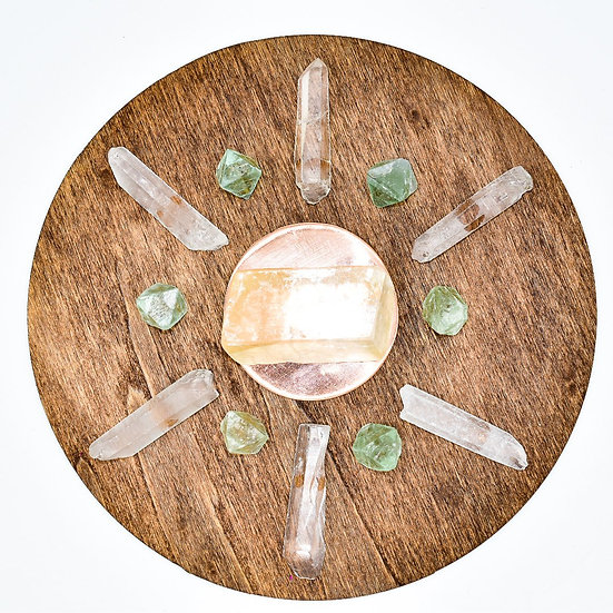Handmade LOVE Crystal Grid With Copper Plate and Crystals