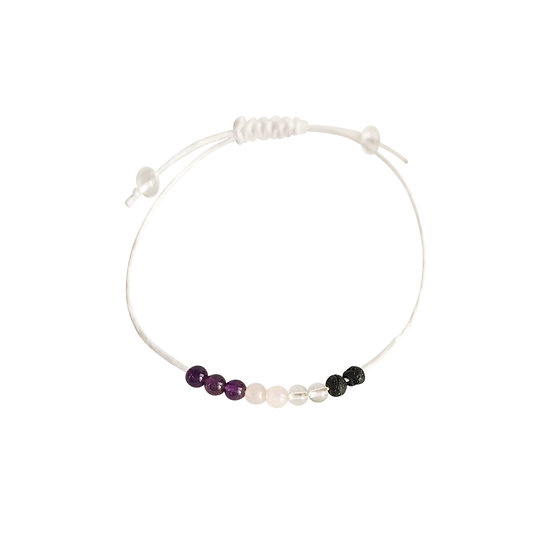 Amethyst, Crystal Quartz,Rose Quartz and Lava Beads + Hemp ,Anklet or Bracelet