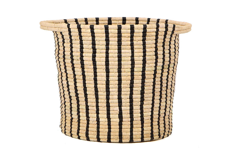 Black + Natural Striped Raffia Floor Storage/Plant Basket